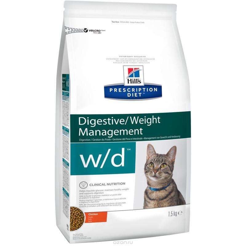 Hills Feline W|D Лечебный корм для кошек, лечение сахарного диабета, запоров, колитов