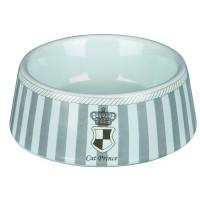Миска д/кошек Prince 0,18л/ф12см керамика серый/белый