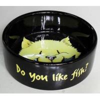 """Миска керамическая для кошки 0,3л/12см """"Do you like Fish"""" черная"""