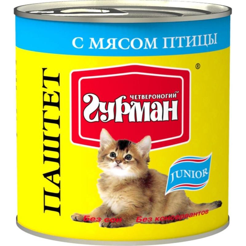 Четвероногий Гурман Паштет с Птицей Консервы для котят