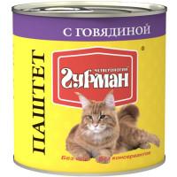 Четвероногий Гурман Паштет с Говядиной Консервы для взрослых кошек