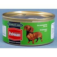 Четвероногий Гурман Готовый обед с Потрошками и Рисом Консервы для собак с потрошками и рисом
