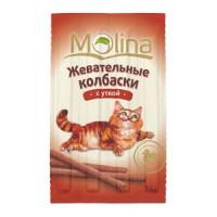 Молина Лакомство д/кошек  Жевательные колбаски с уткой 36гр