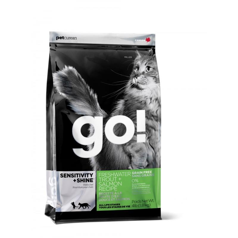GO SENSITIVITY + SHINE  Беззерновой для Котят и Кошек с Чувств.пищеварением: Форель, Лосось