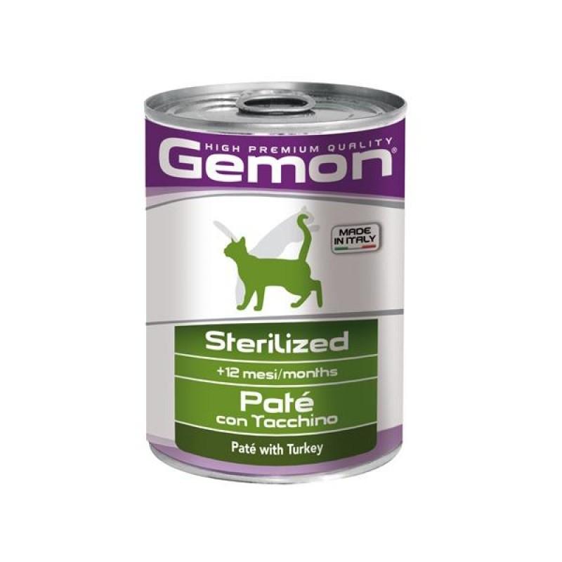 Gemon Cat Sterilised консервы для стерилизованных кошек паштет индейка 400г