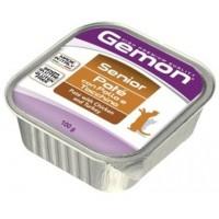 Gemon Cat консервы для пожилых кошек паштет курица и индейка 100г