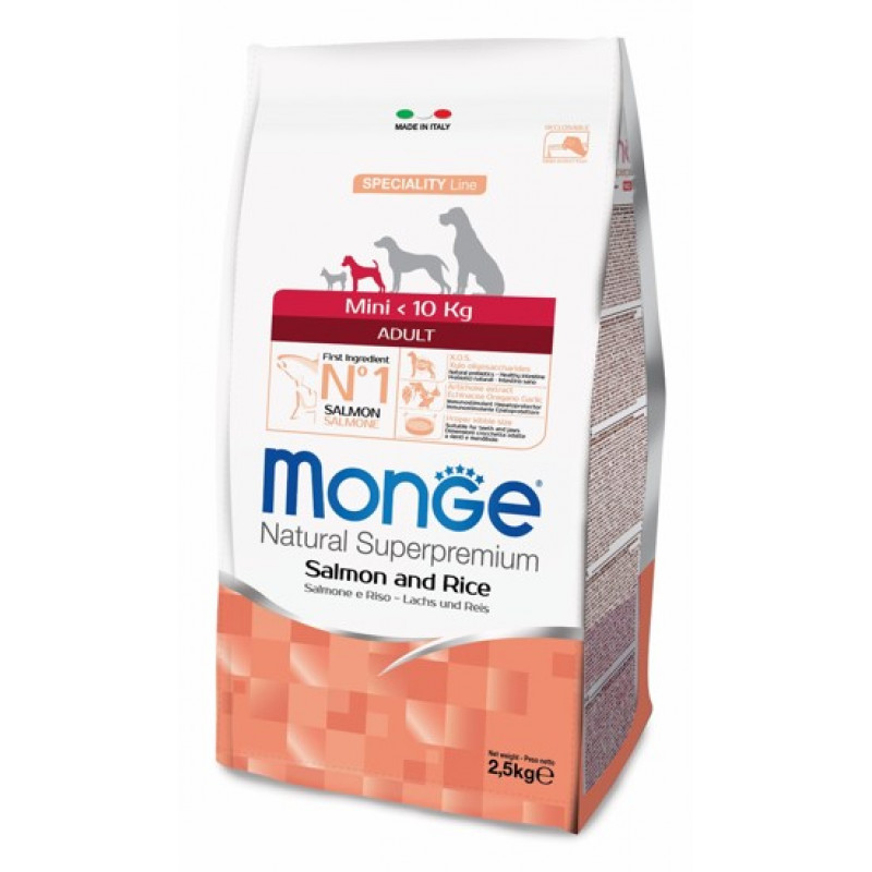 Monge Dog Speciality Mini корм для взрослых собак мелких пород лосось с рисом 7.5кг