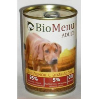 BioMenu ADULT Консервы д/собак Цыпленок с Ананасами 95%-МЯСО 410гр