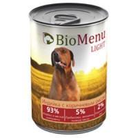 BioMenu LIGHT Консервы д/собак Индейка с коричневым рисом  93%-МЯСО 410гр