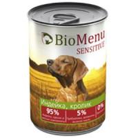 BioMenu SENSITIVE Консервы д/собак Индейка/Кролик 95%-МЯСО 410гр