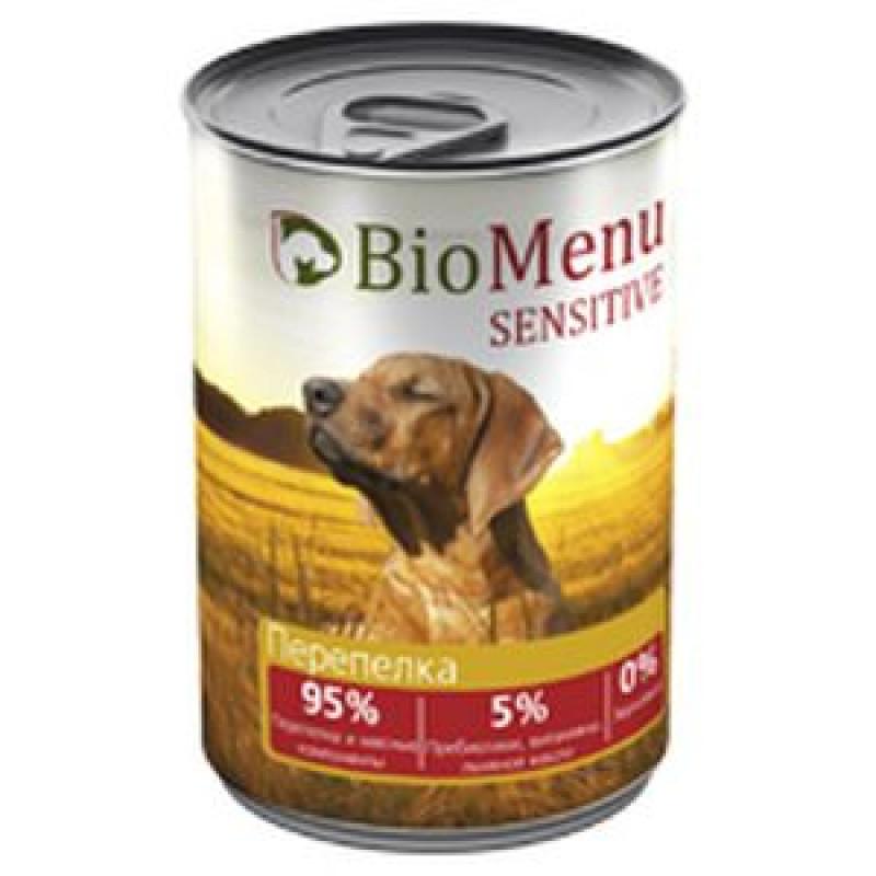 BioMenu SENSITIVE Консервы д/собак Перепелка  95%-МЯСО 410гp