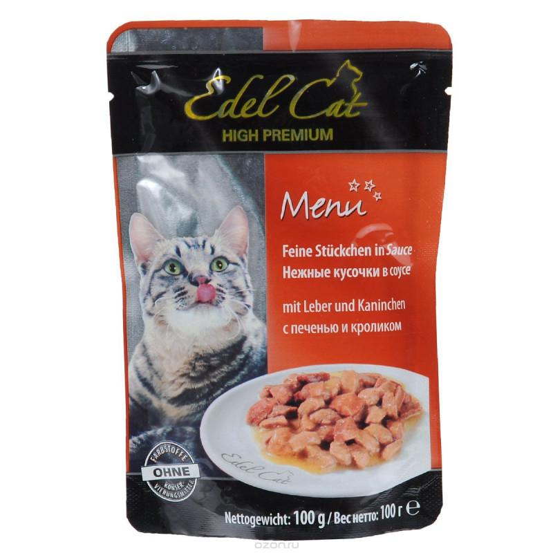 Эдель Кэт  пауч д/кошек кусочки в соусе с Печенью и Кроликом 100г