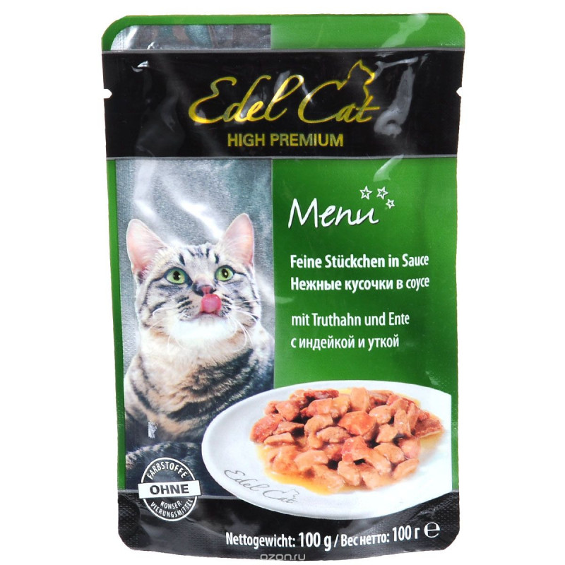 Эдель Кэт  пауч д/кошек кусочки в соусе с Уткой и Кроликом 100г