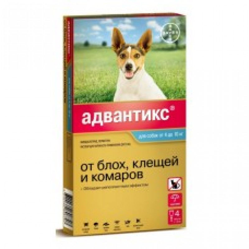 Байер Адвантикс Капли д/собак 4-10кг от блох и клещей 1пипетка 1мл