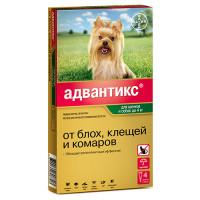 Байер Адвантикс Капли д/собак до 4кг от блох и клещей 1пипетка 0,4мл