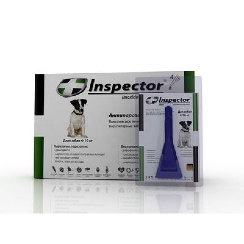 Inspector инсекто-акарицидные капли от всех  паразитов для собак (от 4 до 10 кг)