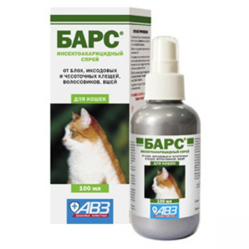 Барс Спрей д/кошек инсектоакарицидный 100мл   (флакон)