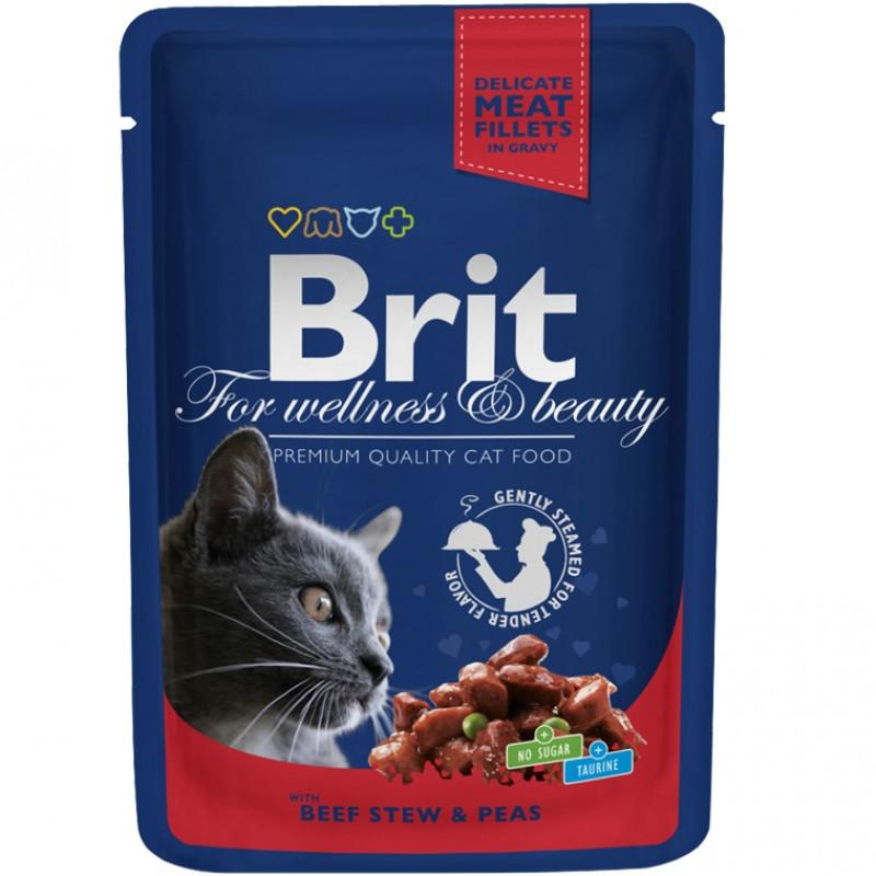 Brit Premium Пауч для кошек, Говядина и горошек