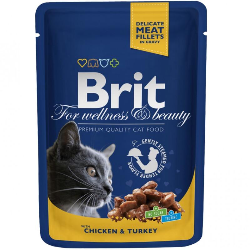 Brit Premium Пауч для кошек, Курица и индейка