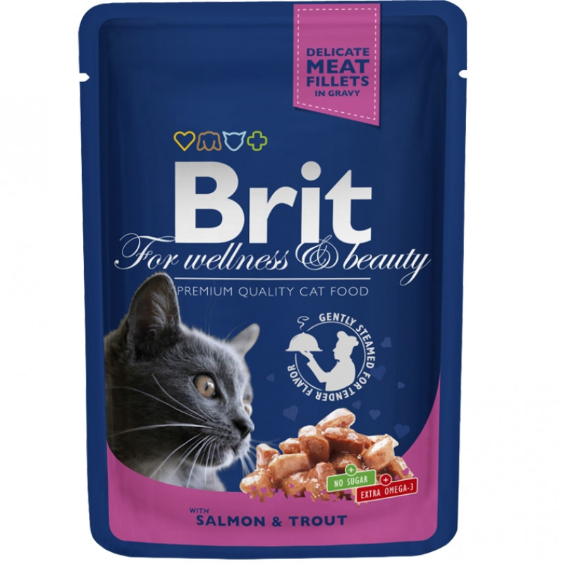 Brit Premium Пауч для кошек, Лосось и форель