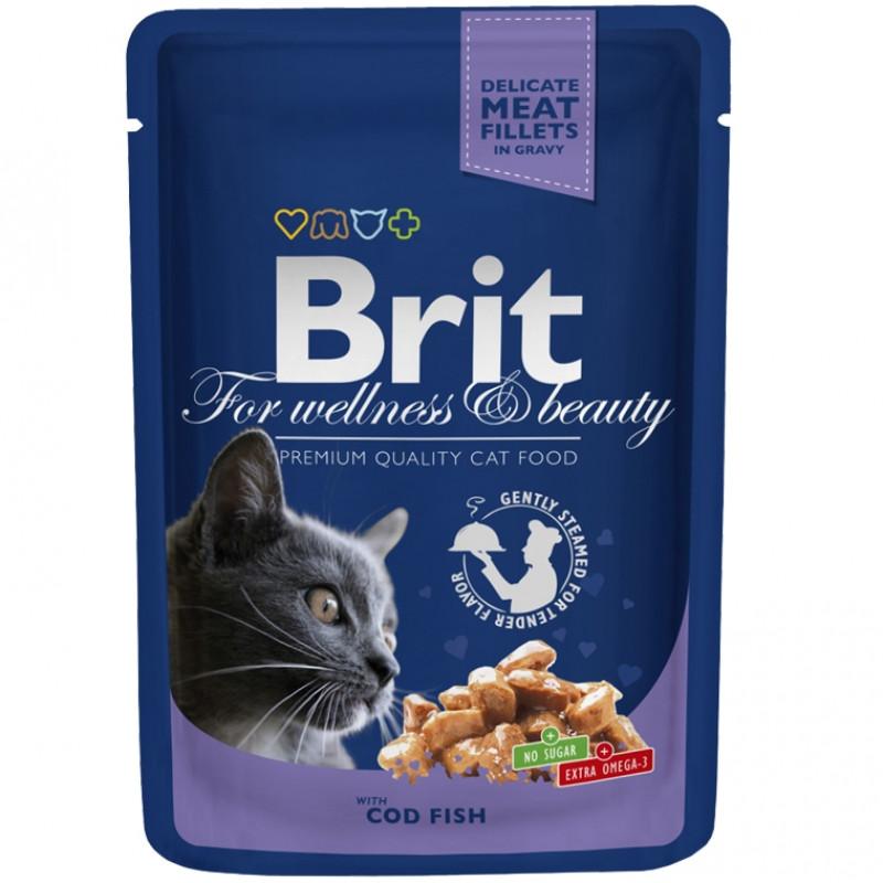 Brit Premium Пауч для кошек, Треска