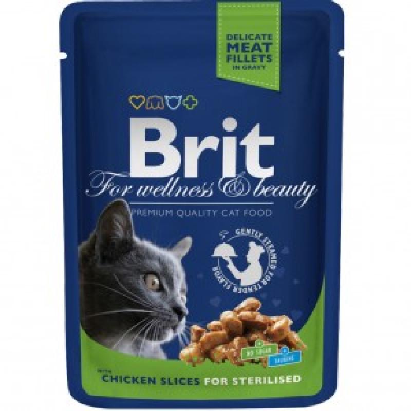 Brit Premium Пауч для стерилизованных кошек и кастрированных котов с Курицей