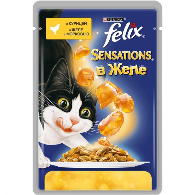Felix Sensations для кошек, курица в желе с морковью Полнорационный корм для кошек