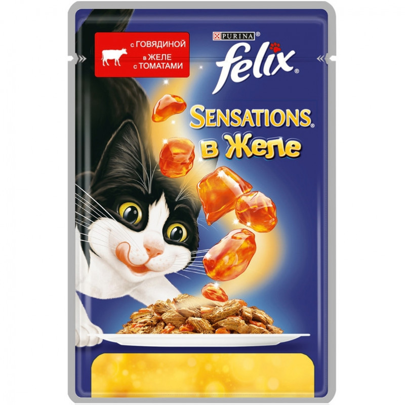Felix Sensations для кошек, говядина в желе с томатами Полнорационный корм для кошек