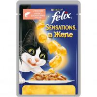 Felix Sensations для кошек, лосось и треска в желе Полнорационный корм для кошек