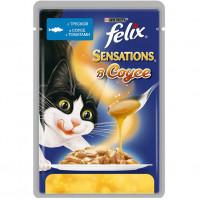 Felix Sensations для кошек, треска в соусе с томатами Полнорационный корм для кошек