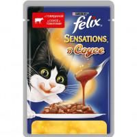 Felix Sensations для кошек, говядина в соусе с томатами Полнорационный корм для кошек