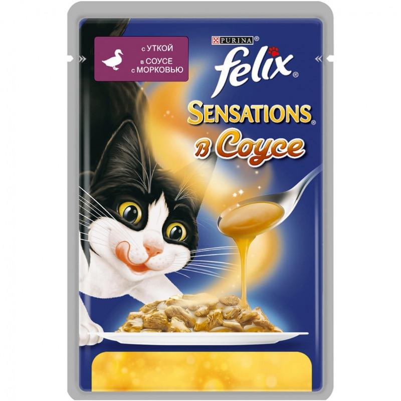 Felix Sensations для кошек, утка в соусе с морковью