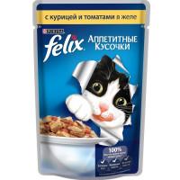 Felix для кошек, курица с томатами, кусочки в желе