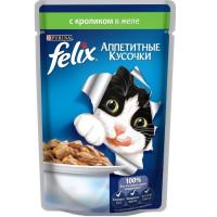 Felix для кошек, кролик,кусочки в желе