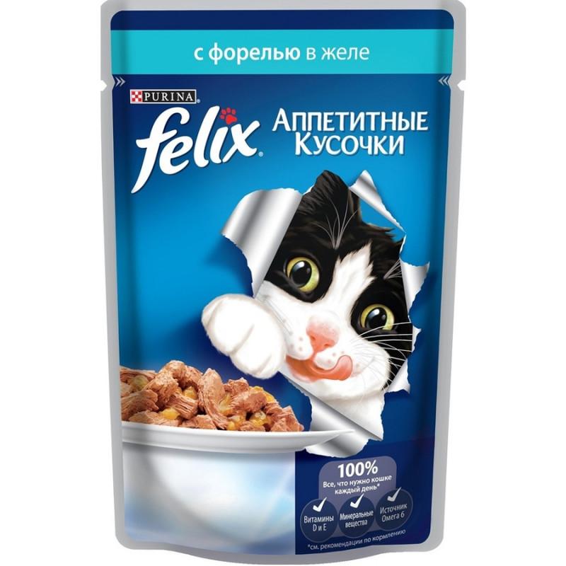 Felix для кошек, форель, кусочки в желе