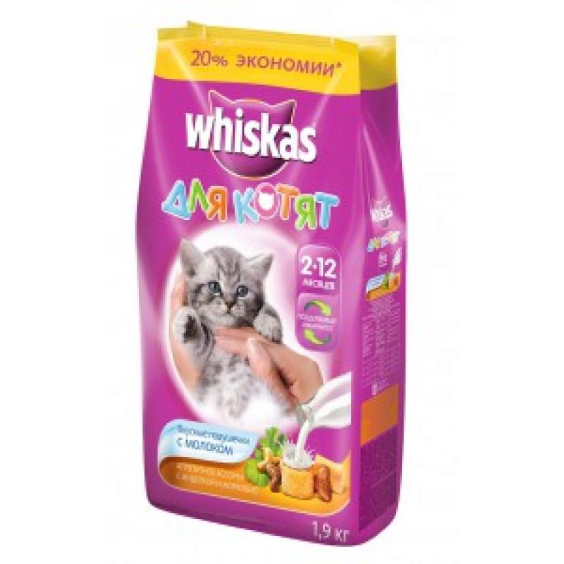 Whiskas Подушечки с Молоком Корм для котят с индейкой и морковью 1,9 кг
