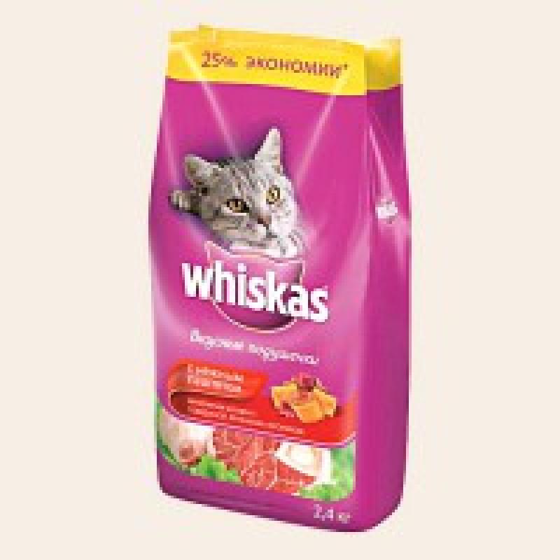 Whiskas Подушечки с Паштетом из Говядины Корм для кошек из говядины, кролика 1,9 кг