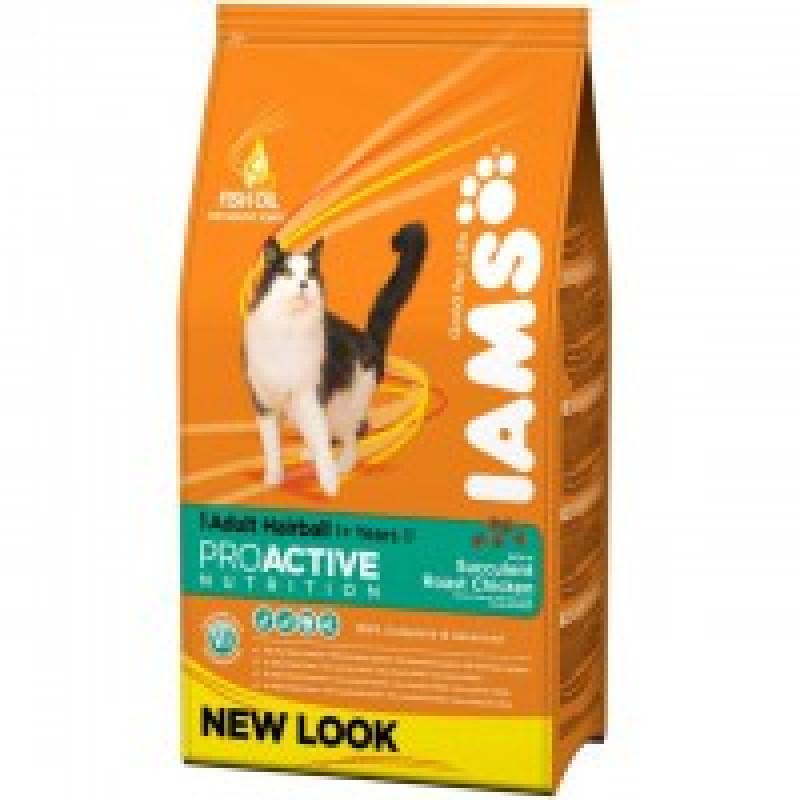 Iams Adult Hairball Chicken Корм для взрослых кошек для выведения шерсти из желудка 850г