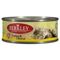 Беркли Консервы для кошек Индейка, Сыр 100гр , УПАКОВКА 6ШТ