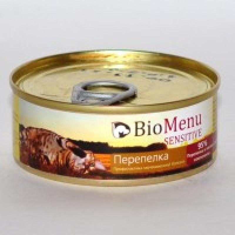 BioMenu Sensitive Консервы для кошек мясной паштет с Перепелкой 95% - мясо