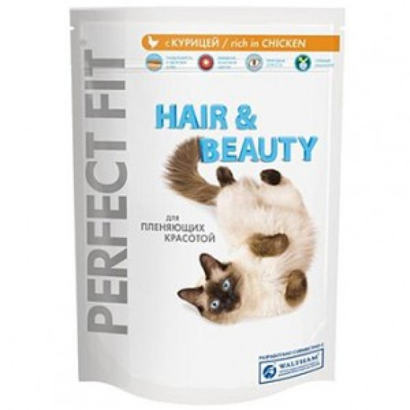 Perfect Fit Hair & Beauty  Корм для кошек Красивая шерсть 190 г
