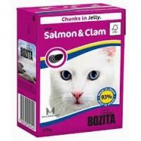 Bozita Salmon&Clam Cat Кусочки в желе с лососем и мидиями для кошек 370г