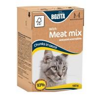Bozita Mini Meat Mix Кусочки в соусе Мясной микс для кошек 190г