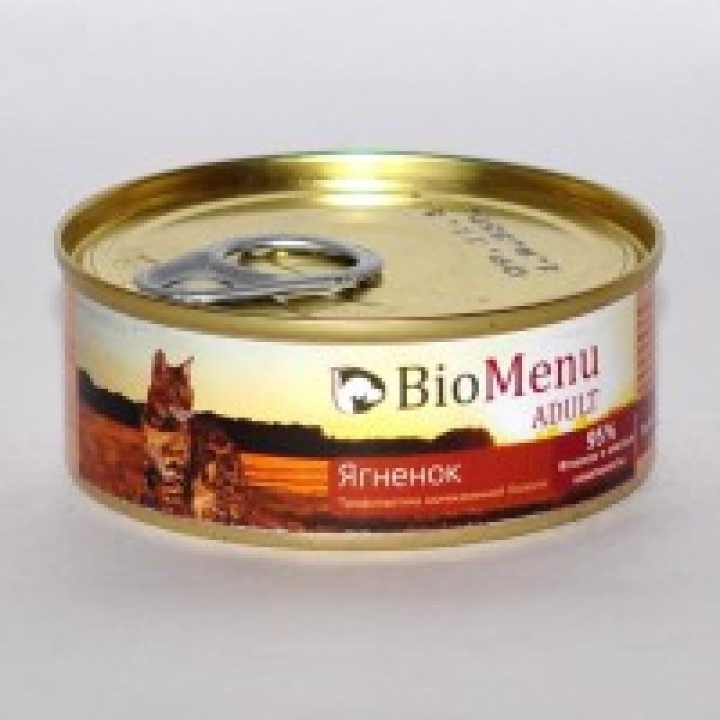 BioMenu Adult Lamb Консервы для кошек мясной паштет с Ягненком 95% - мясо