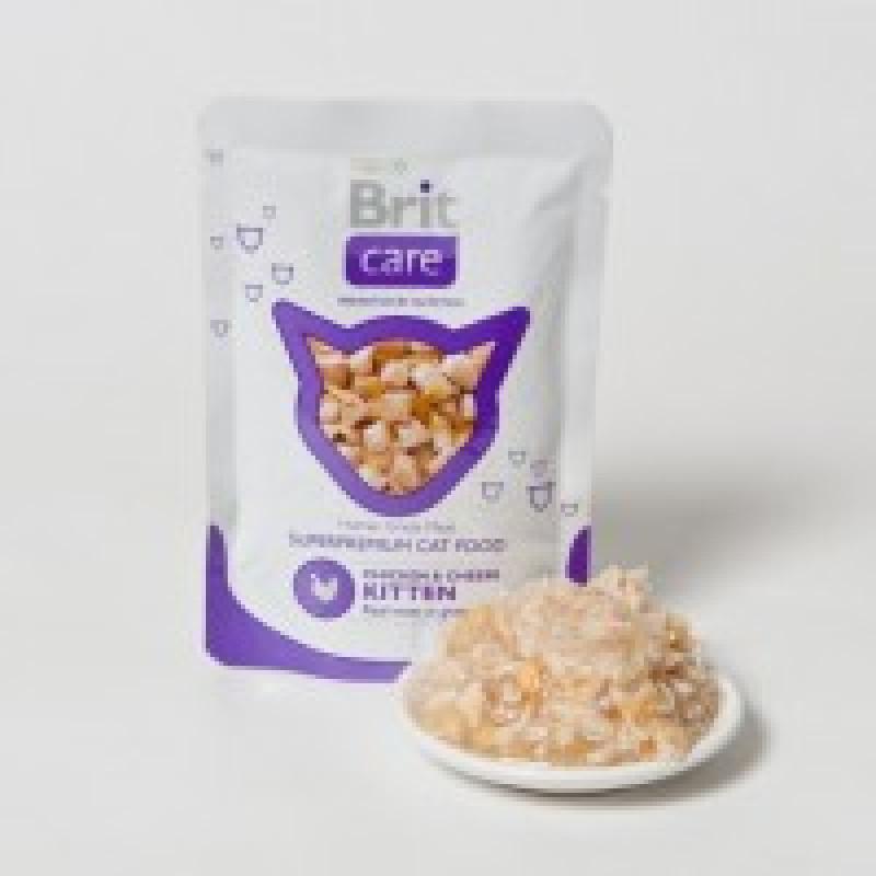"""Brit Care Kitten&Cat Chicken&Cheese Пауч для котят и кошек """"Курица и сыр"""""""
