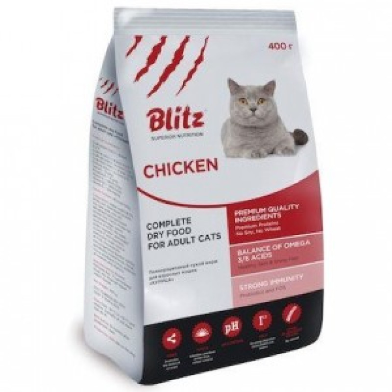 Blitz Adult Cats Chicken Сухой корм для кошек с курицей 400 г
