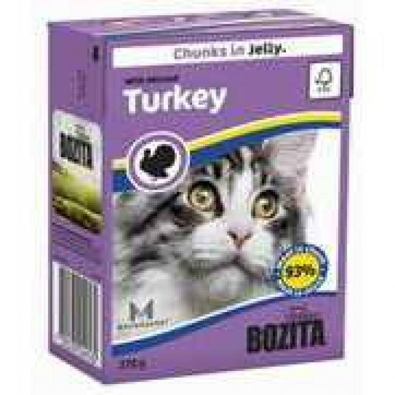 Bozita Turkey Cat Кусочки в желе с рубленой индейкой для кошек 370г