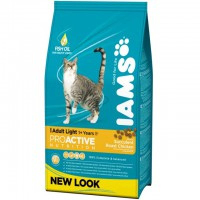 Iams Adult Light with Chicken Корм для взрослых кошек, ведущих малоактивный образ жизни 2,55 кг