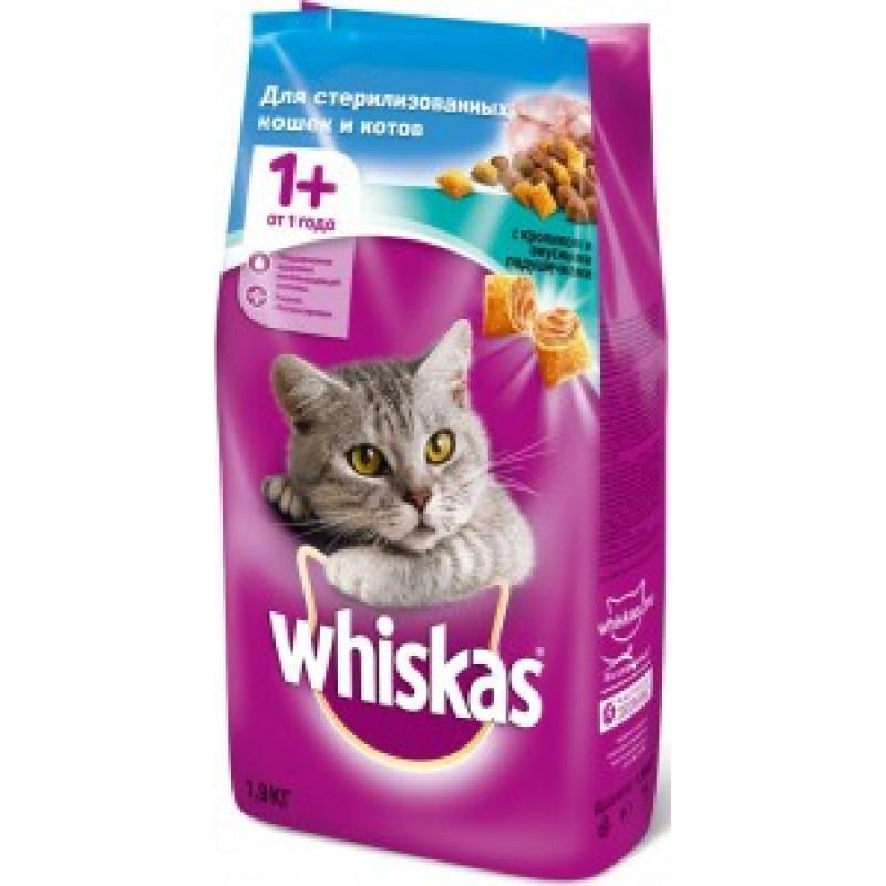 Whiskas Sterilized Сухой корм для стерилизованных кошек и кастрированных котов с Кроликом 1,9 кг
