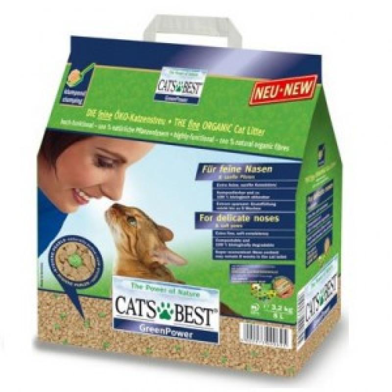 Cats Best Green Power Наполнитель древесный комкующийся с зелеными антибактериальными гранулами